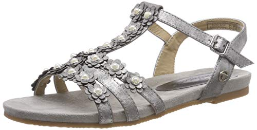 TOM TAILOR für Frauen Schuhe Glitzende Sandalen mit Blumen-Details Silver, 40