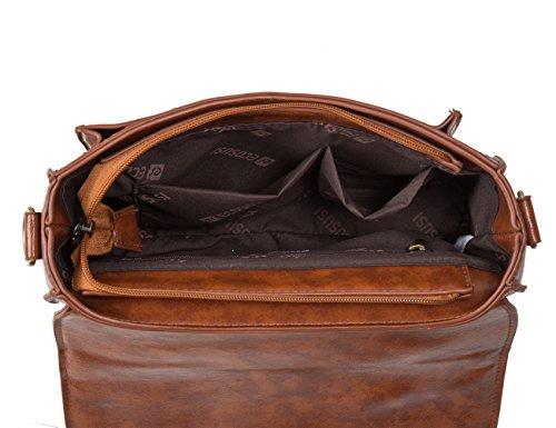 ECOSUSI-Sac Cartable-Sac bandoulière pour femme -sac à main-Vintage Cartable (Marron)