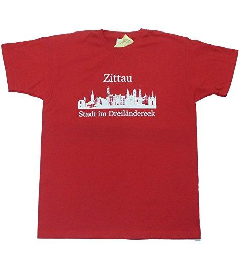 """T-Shirt - Zittau """"Stadt im Dreiländereck"""" Rot"""