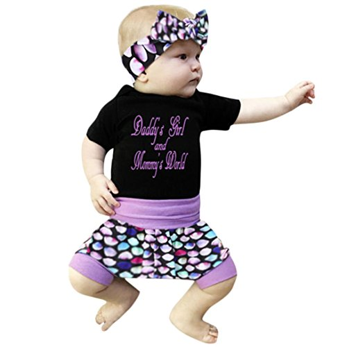 Stilvolle Kurzen Brief Drucken (QinMM 3 Stücke Kleinkind Kinder Baby Mädchen Brief Strampler + Shorts + Stirnband Outfits Kleidung Set Sommer Niedlich Outfit Drucken Coole Mode Schwarz 3 Mt-18 Mt (6M, Schwarz))