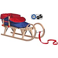Impag® Klassischer Hörner-Schlitten Rodel   100-125 cm lang   stabiles Buchenholz   belastbar bis 110 kg   mit Zuggurt und Sicherheits-Rückenlehne   inkl. Fußsack  TÜV geprüft