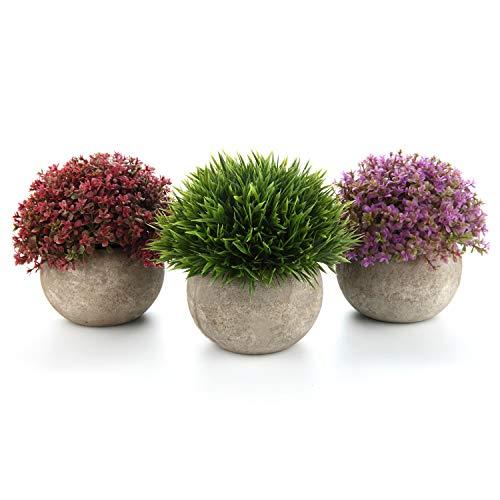 T4U Kunstpflanze Künstliche Blumen Gras Bonsai mit Topf Grün Rot Lila 3er-Set klein, Zuhause Wohnung Büro Dekor Hochzeit Geburtstag Weihnachten Geschenk