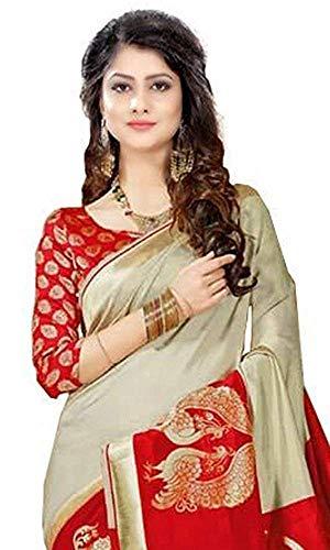 Rensila Fab Women's Bhagalpuri Art Silk Saree with Blouse Piece (Red & Beige) 2