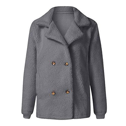 IZHH Damen Mantel Mode Vintage Frauen Biker Motorrad Leder Reißverschluss Jacke Mantel Outwear Revers Langarm Taste Tasche Plüsch Jacke Jacke(Grau,XX-Large) (Leder Jacke Teddy Bär)