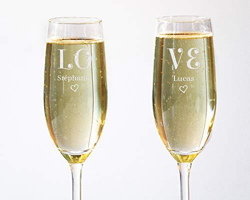 CADEAUX.COM Lot de 2 Flûtes à Champagne personnalisées Love avec Deux Prénoms - Flûte Mariage Haut de Gamme Motif Love - Coupe à Champagne Originale