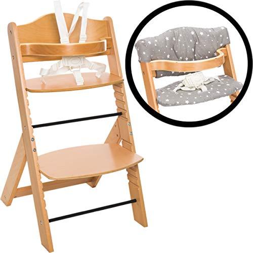 Hochstuhl SET aus massivem Holz inklusiv Sitzpolster verstellbar mitwachsend Treppenhochstuhl bis 80kg Baby Kind (Grau Sterne)