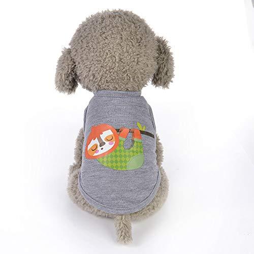 Karikatur gedruckte Weste-Hundewelpen-Kostüme-Haustier-Kleidung,Mode Sommer niedlichen Hund Haustier Weste Welpen gedruckt Baumwoll T-Shirt,Perfekt Zum Wandern,Joggen (H, XS) ()