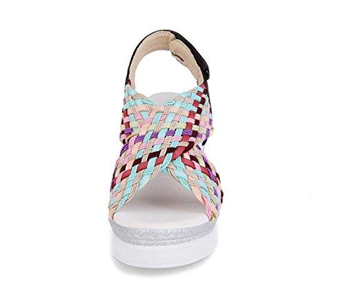 WZG Les nouveaux hauts talons des sandales diamant creux chaussures en daim imperméable Gold