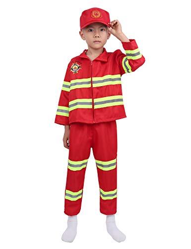 ranrann Jungen Mädchen Feuerwehr Kostüm Set Langarm Jacke mit Hose Hut 3PC Outfit Set Kinder Feuerwehrmann Kostüm Uniform Anzug 4-12 Jahre Rot 128-140/8-10Jahre (Für Kinder Feuerwehrmann-uniform)
