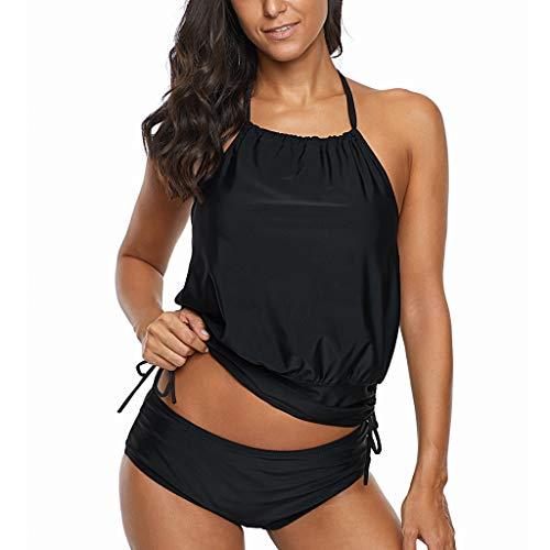 OHQ Damen Sommer Sport Riemchen Bauchweg Tankini Set Zweiteilig Streifen Druck Push Up Sling Bikini Top Set Rückenfrei Große Größen Oberteil mit Shorts Adidas Sling