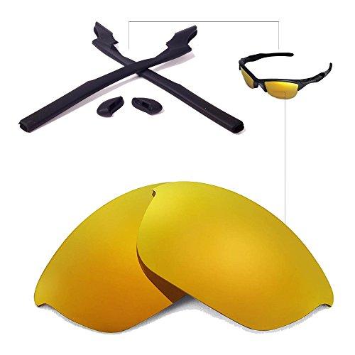 Walleva Wechselgläser Und Earsocks für Oakley Half Jacket 2.0 Sonnenbrille - Mehrfache Optionen (24K Gold Polarisierte Linsen + Schwarzer Gummi)