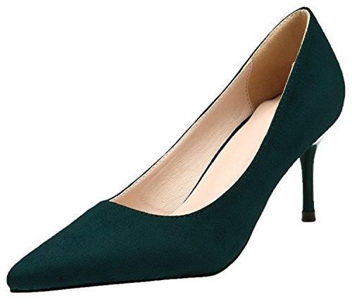 De punta estrecha Tacones altos Mujer Ante Zapatos de tacón Elegante Vestir Zapatos Verde De BIGTREE 41 EU