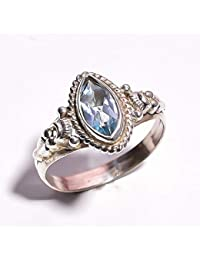 910b5d985d27 mughal gems   jewellery Anillo de Plata esterlina 925 Anillo de joyería  Fina de Piedras Preciosas de Color Aguamarina Natural para Mujeres y niñas…