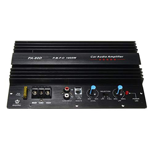 Conseil d'amplificateur de Voiture, amplificateur 12V 1000W de Conseil d'amplificateur Audio de Voiture Mono Puissant de subwoofers Bas puissants amp la Modification de Voiture PA-80D