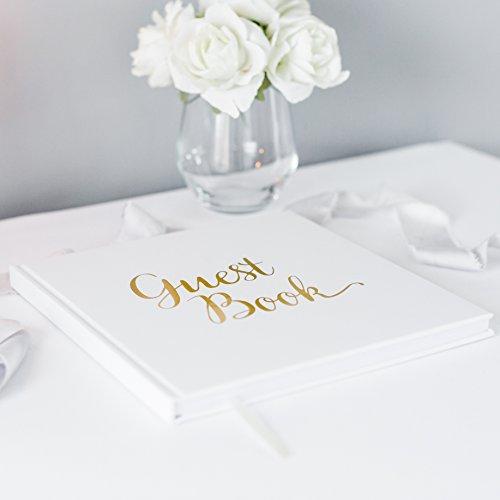 Mariage livre d'or livre d'or papier blanc avec ruban Ivoire Feuille d'or stamping et haute qualité 180g/m² 32pages 64Côtés Square–Une Qualité exceptionnelle