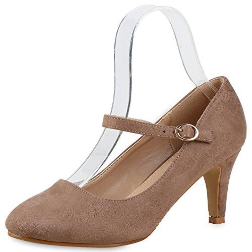 Damen Pumps Mary Janes Blockabsatz High Heels T-Strap Khaki Velours