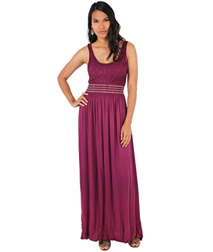 7091-WIN-SM: KRISP Damen Bodenlanges Kleid mit Lochmuster,Small-Medium (36-38)