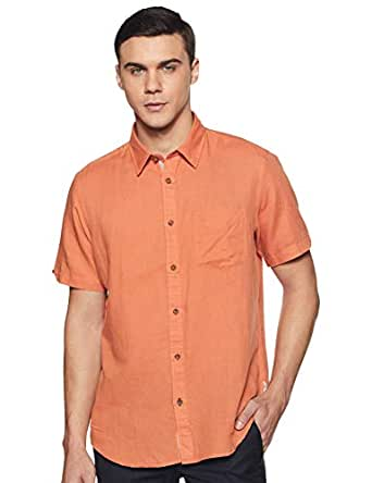 Indian Terrain Men's Solid Slim fit Casual Shirt (ITMSH01122-8907755459041_Gold_Small)