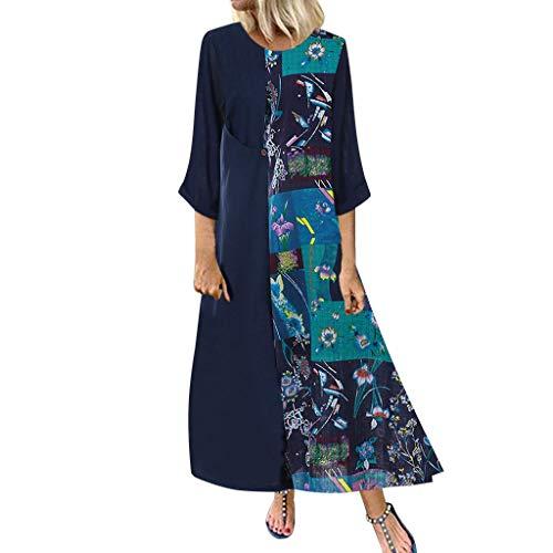 Malloom-Bekleidung Mode Frauen Drucken Spleiß Langes Hülsen Knopf Taschen Oansatz Beiläufiges Kleid o- Kleid Mit Langen Ärmeln Und Bedruckten Nähten -