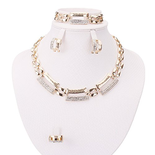 Moochi Gold Plated Great Wall Pattern Crystal Necklace Earrings Bracelet Ring Jewelry Set