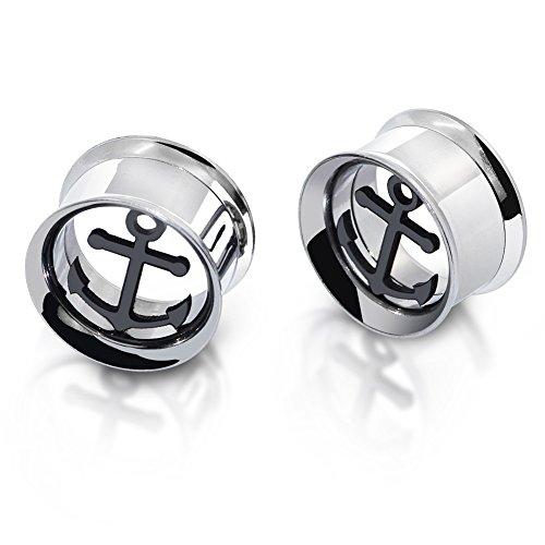 D&Min Jewelry Edelstahl Tunnel Plugs Hollow Schraub Ear Stretcher 8mm Anker (Anker-plugs)