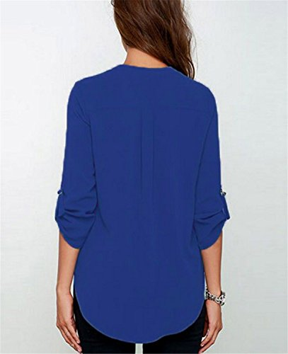 YOGLY Damen NeUe langarm - V - ausschnitt - lockere chiffon - T - shirt - style Wild, schöne Damen - T - shirt Blau