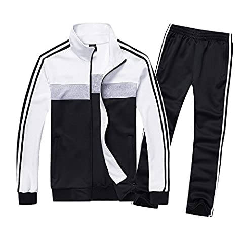 WALK-LEADER Womens Active Slim Long Sleeve Striped Jogger Tracksuit Top