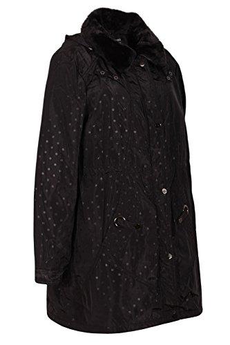Sovrire Collection Damen Regenmantel Große Größen Freizeit Mantel Herbst Winter Design Kunstfell Kragen Kapuze Schwarz