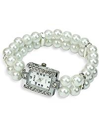 LEORX Mujeres perlas cuarzo Pulsera Wirst reloj fila dos perlas y diamantes de imitación decoración reloj (blanco)