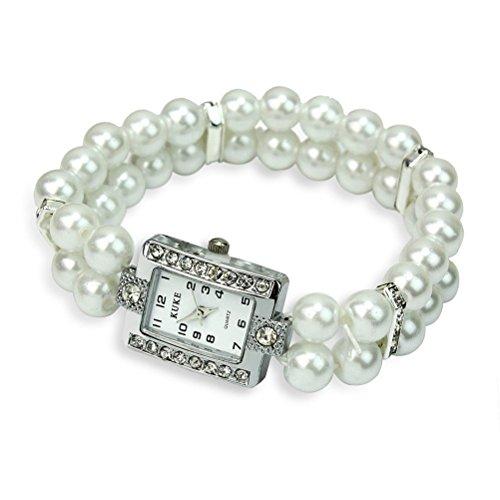 LEORX Frauen Perlen Quarz Armband Wirst sehen zwei Zeile Pearl und Strass verziert Watch (weiß) (Strass-perlen-armband-uhren)