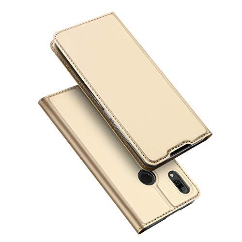 DUX DUCIS Hülle für Huawei P Smart 2019, Leder Flip Handyhülle Schutzhülle Tasche Case mit [Kartenfach] [Standfunktion] [Magnetverschluss] für Huawei P Smart 2019 (Golden)