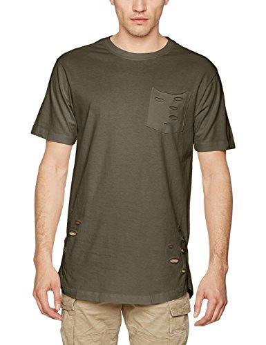 Urban classics ripped pocket tee t-shirt, grün (olive 176), l uomo