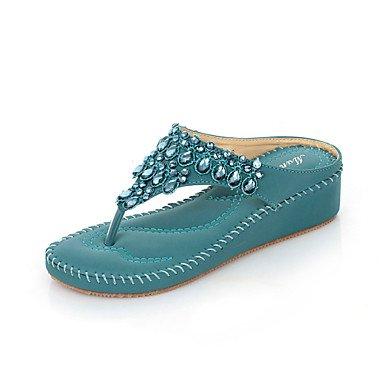 LvYuan Sandalen-Büro Kleid Lässig-PU-Keilabsatz-Komfort Club-Schuhe-Blau Lila Mandelfarben almond
