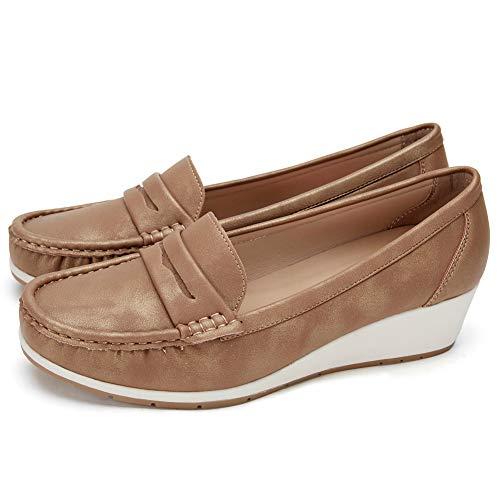 Zapatos Cuña Comodos Náuticos Mujer - Mocasín Cuero