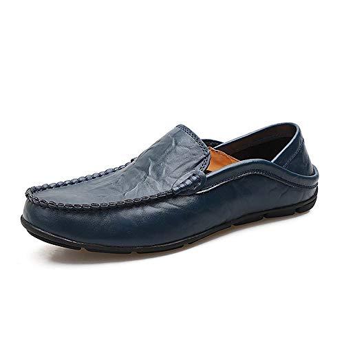 Weiches Italienisches Rindsleder (CATEDOT Loafer Oxford Herrenschuhe Weiches Rindsleder Vamp Rutschfeste Gummisohle Klassische leichte Faule Schuhe für Arbeitsreisen im Freien (Color : Blue, Size : 41EU))