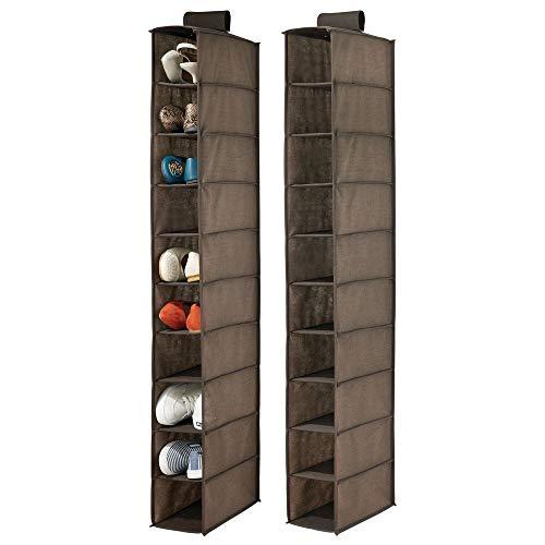 MDesign Juego de 2 muebles zapateros para colgar - Organizador de zapatos para armario con 10 compartimentos...