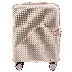 VINCI LUGGAGE EIN großer Handgepäckkoffer für die anspruchsvollen Kunden. Hartschale, 4 Rollen, Zahlenschloss, Ausziehgriff (Weiß, S 55x40x20)