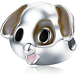 Abalorio de perro, color marrón, 100% plata de ley 925, para perro, perro, perro, perro, perro, para mujer, pulsera y collares, joyería