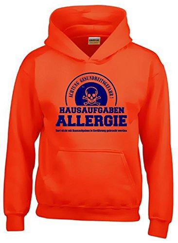 HAUSAUFGABEN ALLERGIE - Vorsicht Gesundheitsgefahr ! Nicht mit Hausaufgaben in Verbindung bringen ! Kinder Sweatshirt mit Kapuze HOODIE orange-navy, Gr.152cm (T-shirt Nichts Mädchen)