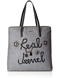Tous Shopping Super Grande Real Jewel, Shopper para Mujer, (Gris), 11x40x45.5 cm…