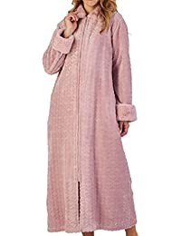 Slenderella Ladies Faux Fur Collar Dressing Gown Zip Up Super Soft Fleece  Bathrobe (Small - 406bea7dd