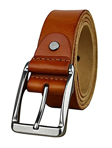 Heepliday Men's Soft Leather 15006 Belt XX-Large 38-40 Silver Buckle