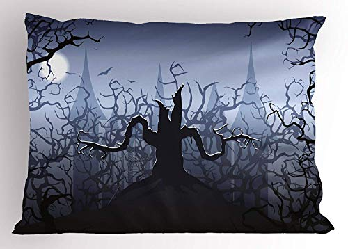 Ytavv Halloween Pillow Sham, Misty Dark Forest Swirling Twiggy Spooky Branch Nature Trick or Treat Halloween, Decorative Standard Queen Size Printed Pillowcase, 30 X 20 inches, Grey Black