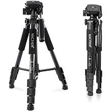 Trípode Cámara Reflex– Mactrem Trípode Completo Flexible con Rótula para DSLR EOS Canon Nikon SONY – Trípode para Viajes (Color: Negro)