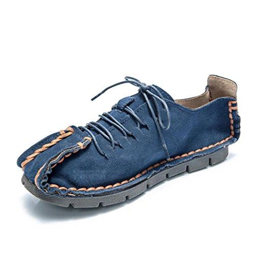Heart&M pelle scamosciata uomo casual punta tonda tacco piatto scarpe fatte a mano deep blue
