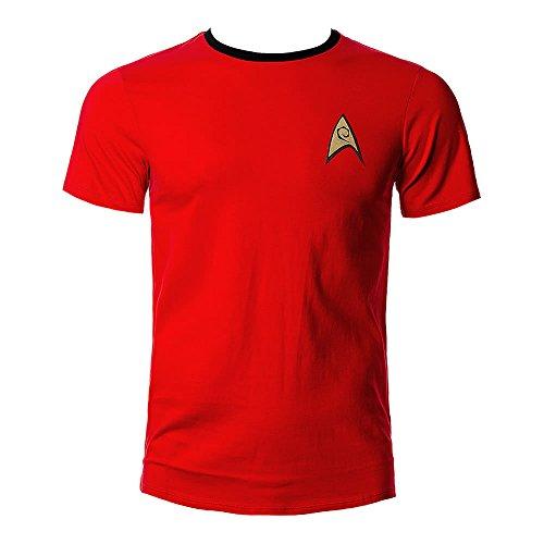 Star Trek Scotty Uniform T-Shirt Raumschiff Trekkie Kostüm Convention Baumwolle rot Kult mit Emblem - - Trekkie Kostüm
