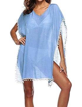 Túnica De Playa Mujer Casual Primavera Anchas Abiertas Bikini Cover Up Elegantes V Cuello Fashion Aireado Transparentes...