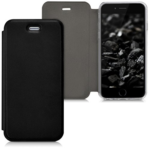 kwmobile Hülle für Apple iPhone 6/6S - Flipcover Case Handy Schutzhülle Kunstleder - Bookstyle Flip Cover Schwarz