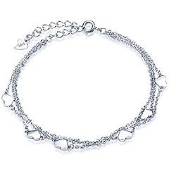 Idea Regalo - Infinite U, bracciale donna classico a cuori, multifilo in argento sterling 925,charm regolabile con catena a maglia, braccialetto e Argento, colore: Silver, cod. b01765