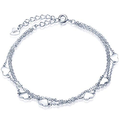 Unendlich-U-Klassisch-Herzen-Damen-Strangarmbnder-925-Sterling-Silber-Armkette-Verstellbar-Charm-Armband-Armkettchen-Armreif-Silber